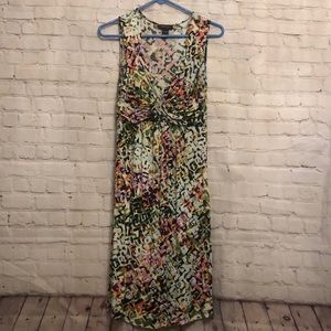 Multicolor spense sleeveless dress tank midi